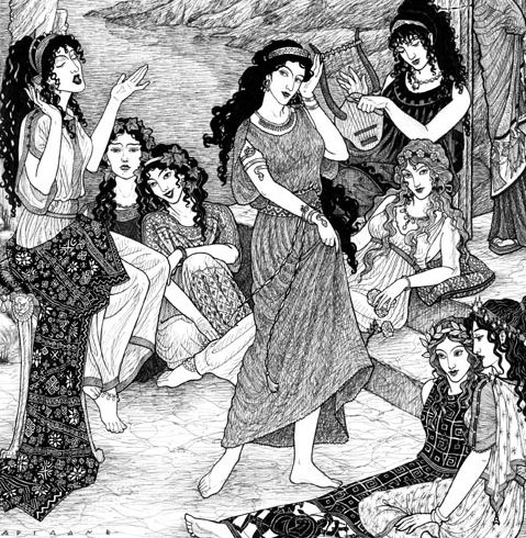 """""""9 Greek Muses,"""" by Thalia Took."""