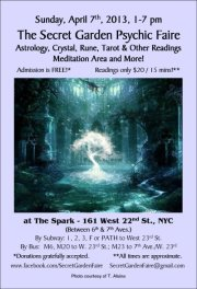 "This is the gorgeous flyer that Trinity Rose created for the ""Secret Garden Psychic Faire VII: Silver Linings."""