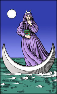 "The High Priestess Card from the original ""Alchemical Tarot,"" by Rosemary Guiley, illustrated by Robert M. Place"