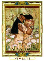 "The Lovers Card from ""The Lover's Path Tarot,"" by Kris Waldherr, depicting Auset (Isis) and Ausar (Osiris)."