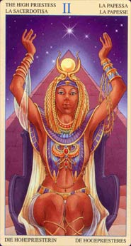 """Auset/Isis, as depicted on """"The High Priestess Card"""" of the """"Universal Goddess Tarot, created by Maria Caratti, illustrated by Antonella Platano."""