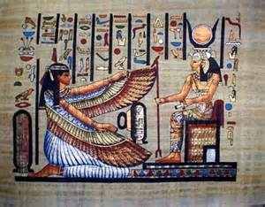"Here we have Maat, the Ancient Egyptian Goddess of Truth, kneeling before, Auset, Whose Name means ""Throne."""