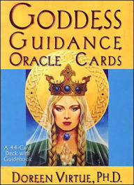 "The cover of the box of ""Goddess Guidance Oracle Cards,"" depicting Dana, the Irish Creatrix Goddesss of the Elemental Kingdoms (or, in Her case, Queendoms), and Alchemy."