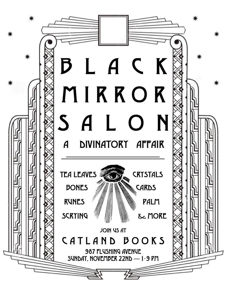 "And here is the gorgeous flyer for ""Black Mirror Salon II."""