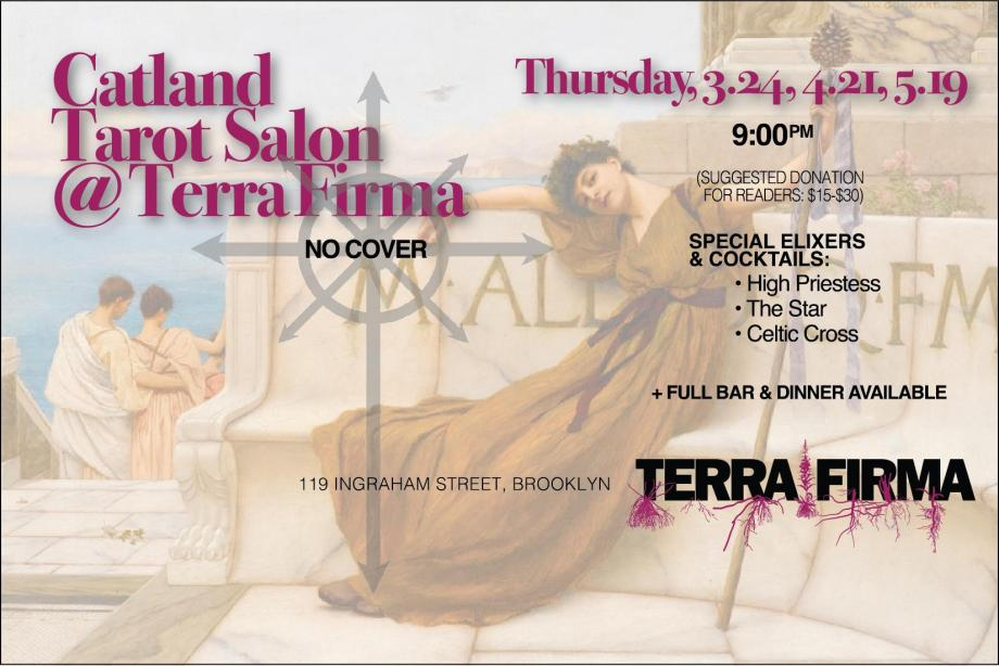 This is the postcard advertising the upcoming Catland Tarot Salons at Terra Firma.